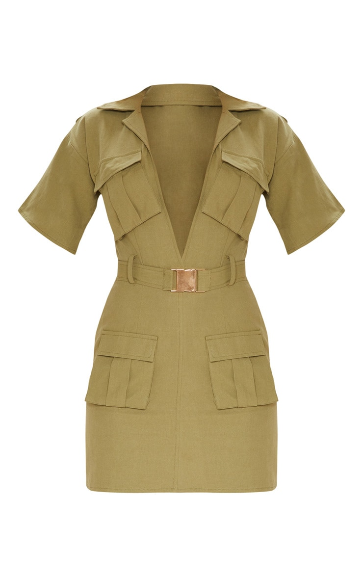 Khaki Cargo Utility Gold Buckle Pocket Detail Bodycon Dress 3