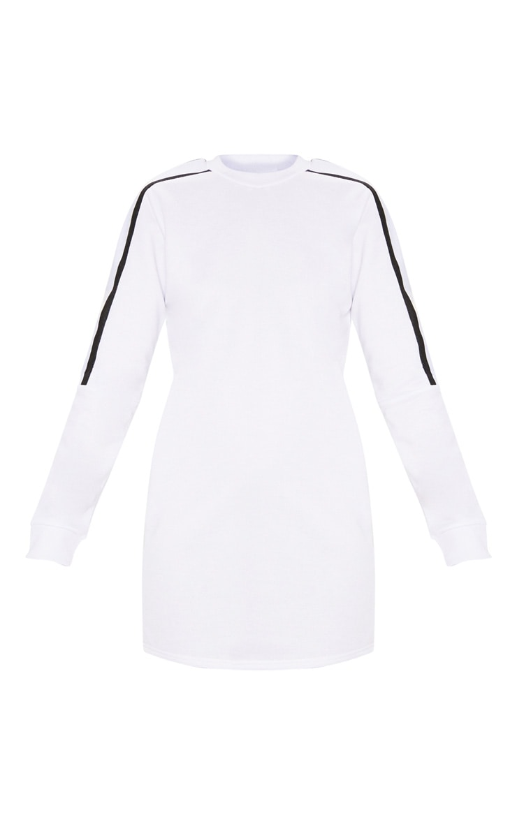 White Sport Stripe Long Sleeve Jumper Dress 3