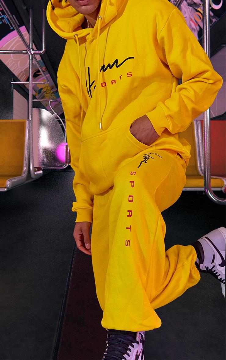 Yellow Unisex Printed Joggers 5