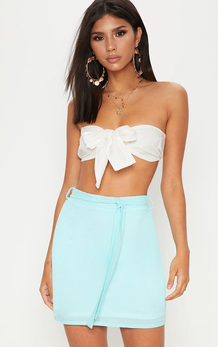 Mint Textured Mini Skirt 1