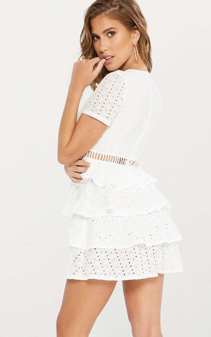 White Lace Tier Frill Plunge Skater Dress 3