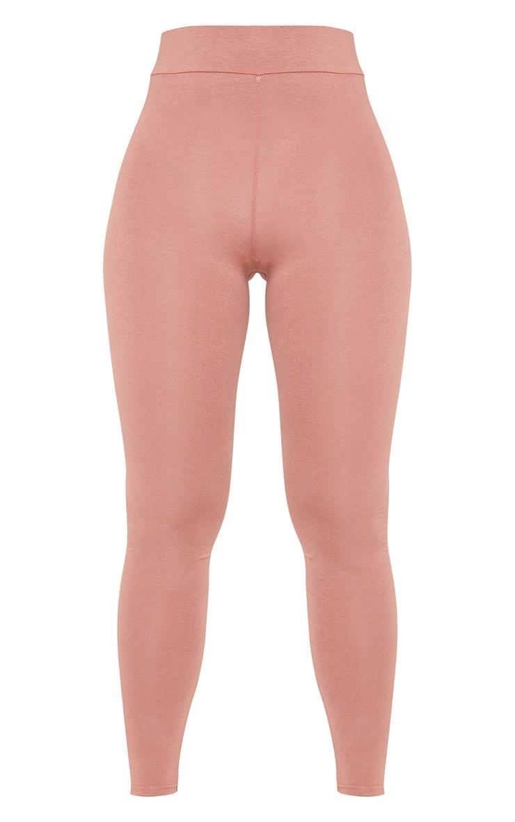 Chocolate Basic High Waisted Jersey Leggings 5