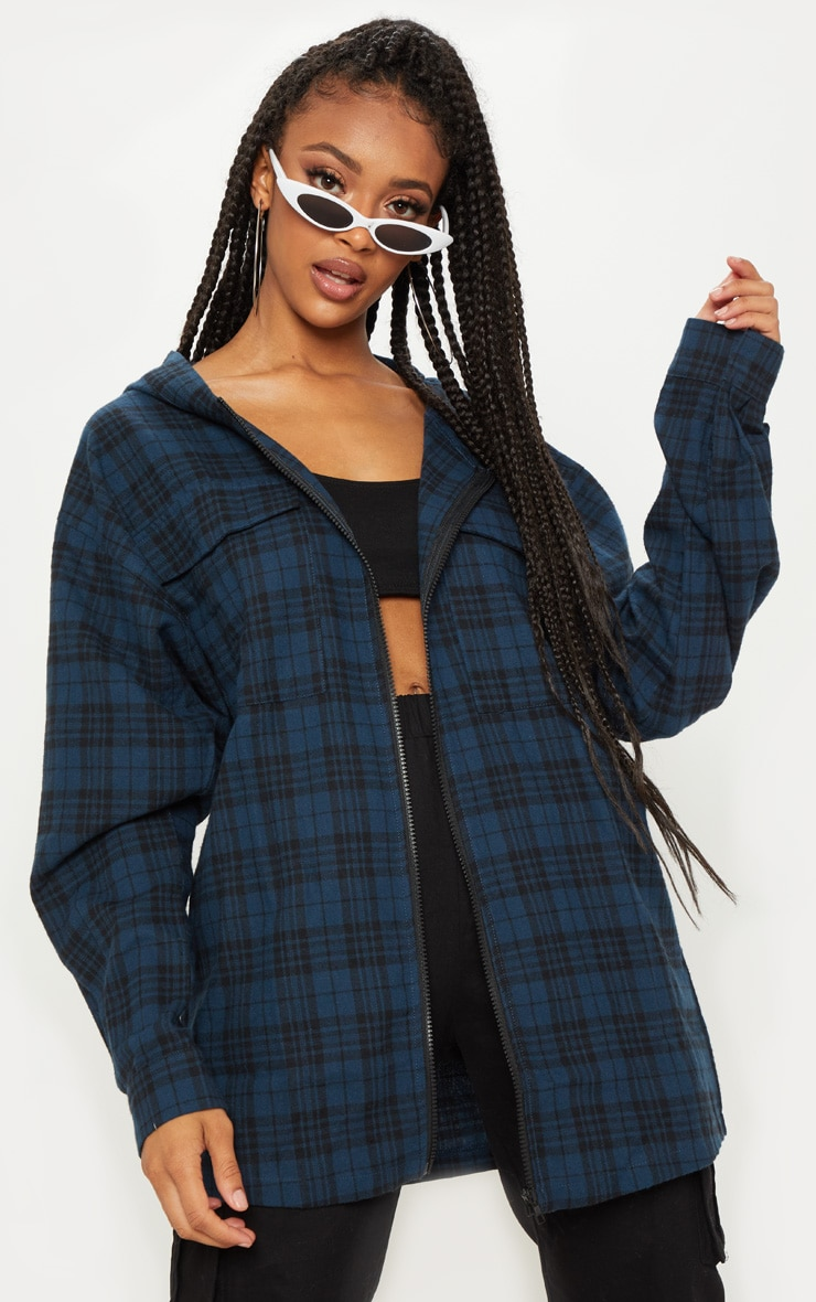 Blue Oversized Flannel Checked Shirt