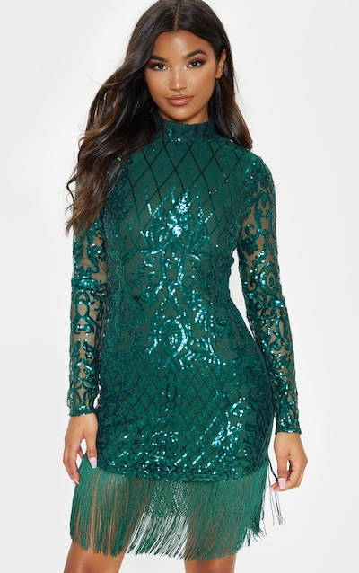 04648bfc49e Emerald Green Sequin Long Sleeve Tassel Hem Bodycon Dress