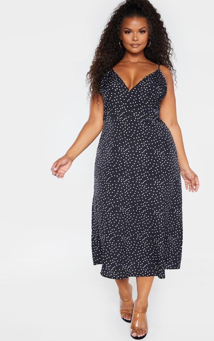 Plus Black Polka Dot Tie Shoulder Midi Dress 1