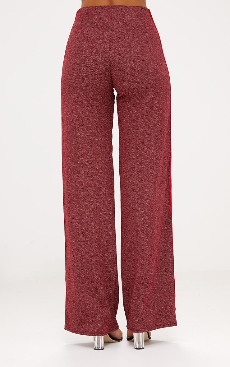 Red Lurex Sport Stripe Wide leg Trousers 3