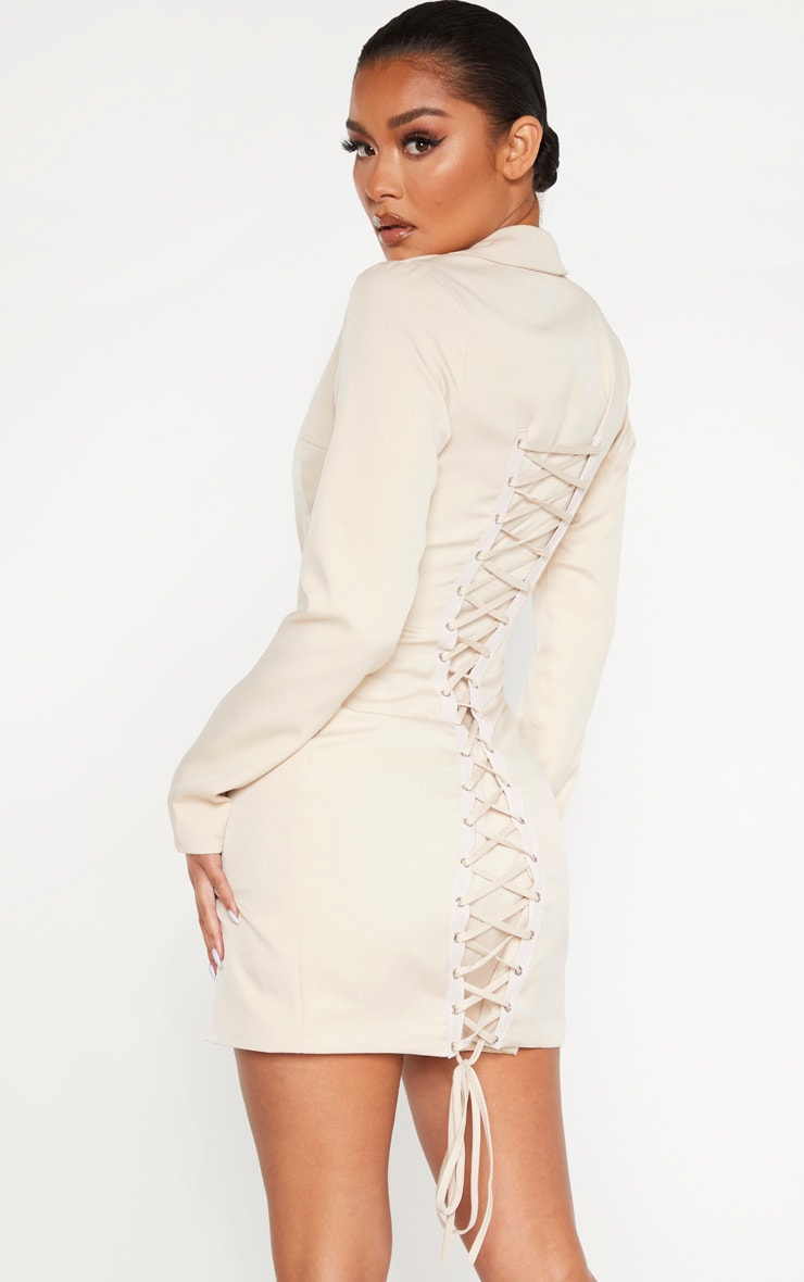 Nude Long Sleeve Lace Up Back Detail Blazer Dress 2