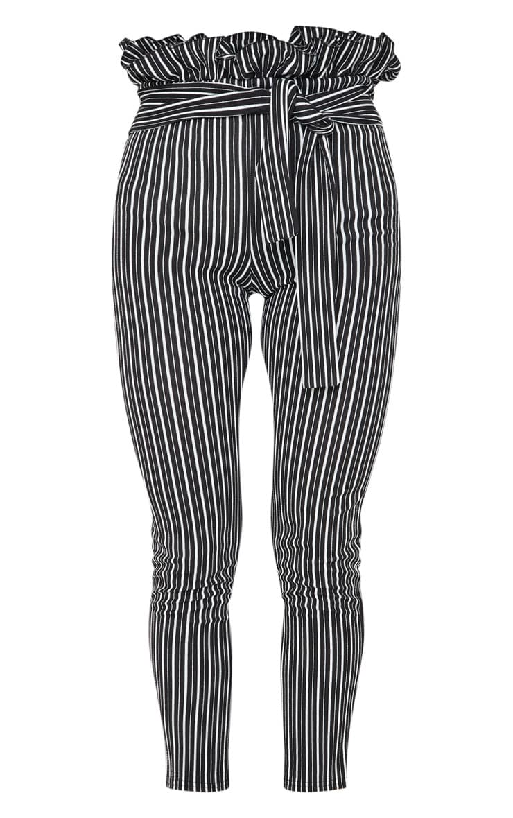 Black Stripe Paperbag Skinny Pants 5