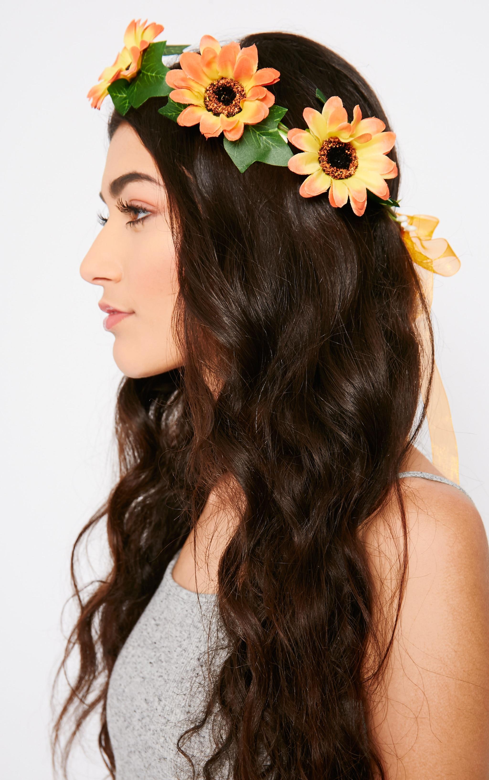 Jody Orange Daisy Hair Garland 2