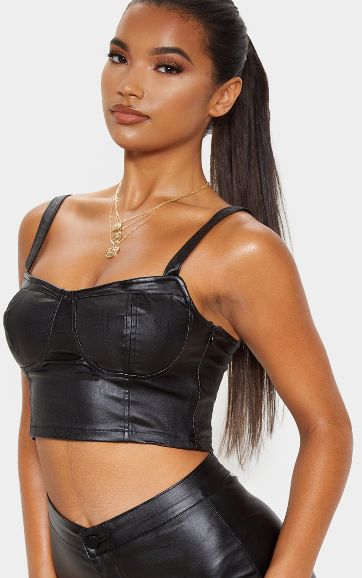 Black Coated Cropped Bralet 4