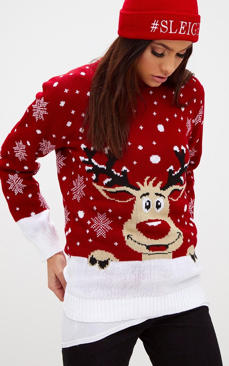 Pull de Noël rouge renne 4