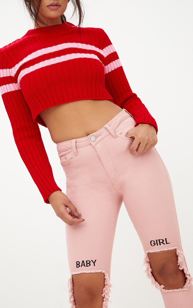Red Stripe Detail Cropped Knitted Jumper 5