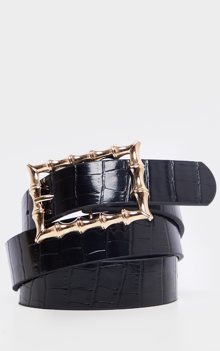 Black Square Bamboo Buckle Belt 2