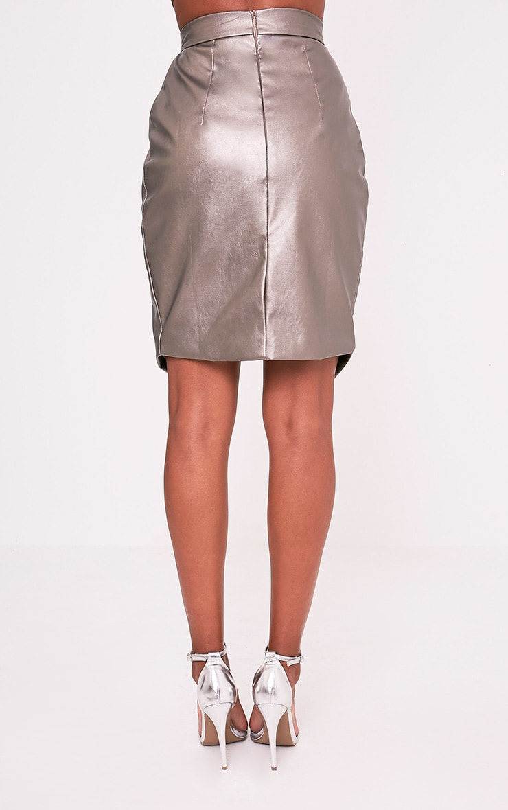 Greer Metallic Pewter Faux Leather Wrap Midi Skirt 5
