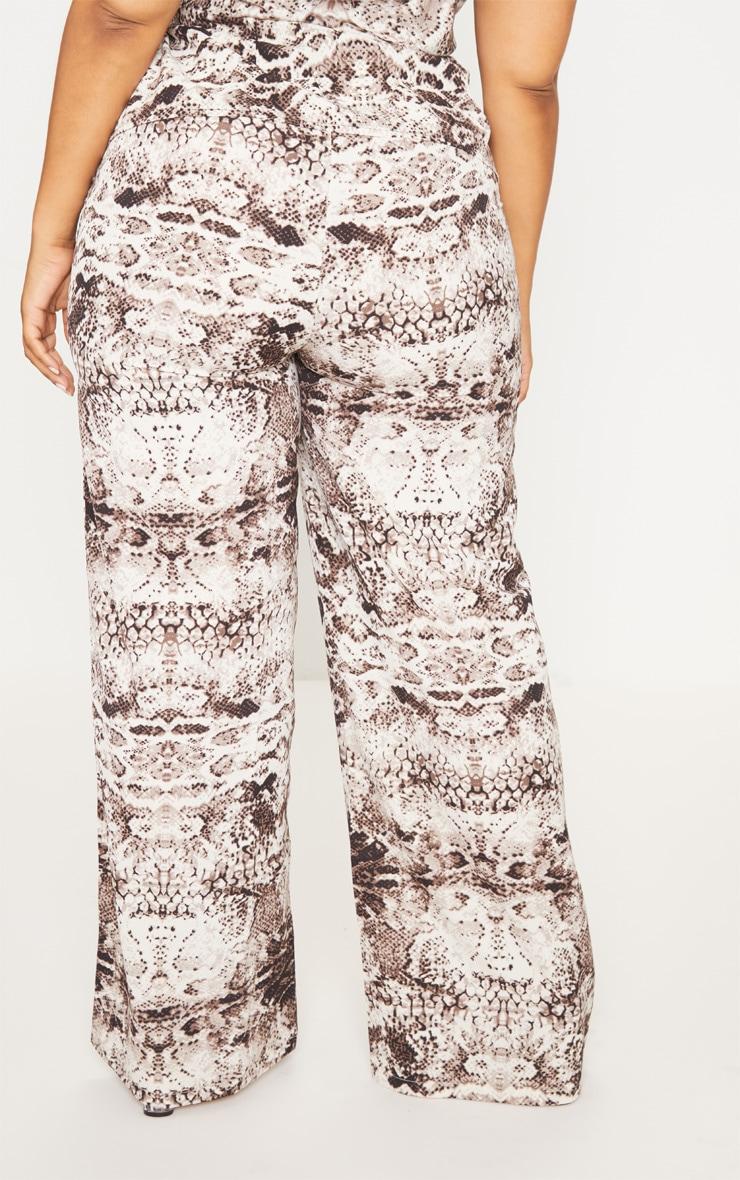 Plus Grey Wide Leg Snake Print Trousers 4