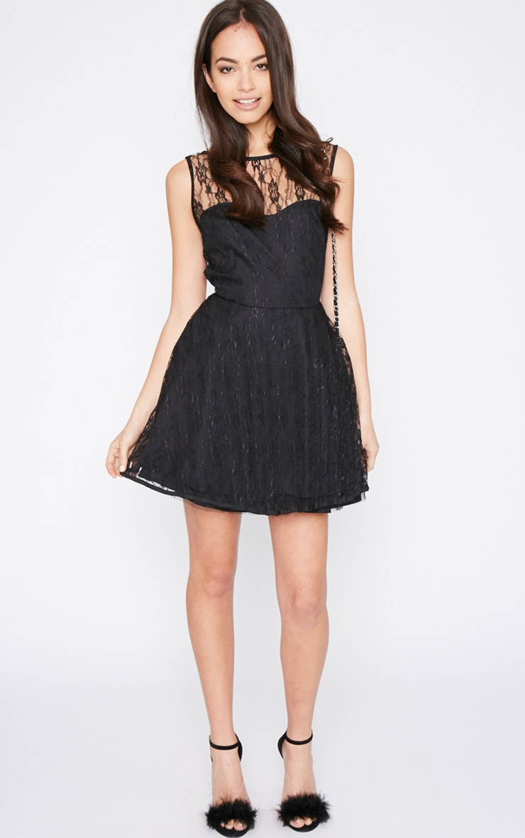 Daniella Black Lace Skater Dress 3