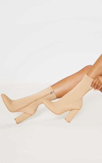 Nude Block Heel Sock Boot