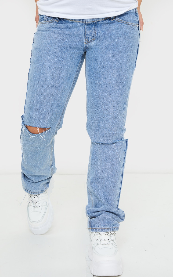 Maternity Mid Wash Knee Rip Straight Leg Jeans 2