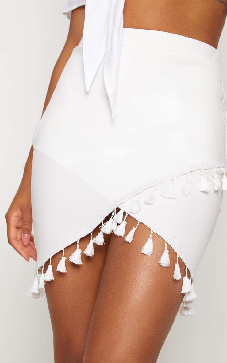 White Tassel Trim Detail Wrap Skirt 6