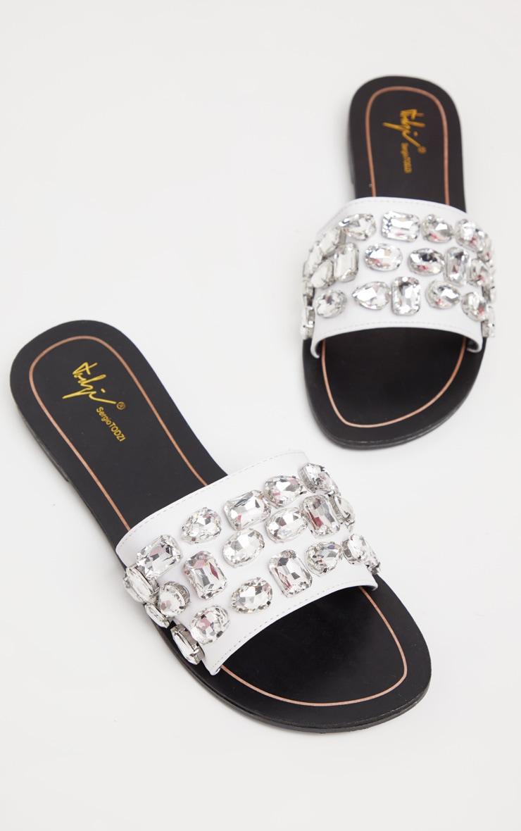White Diamante Jewel Slider Sandal 1
