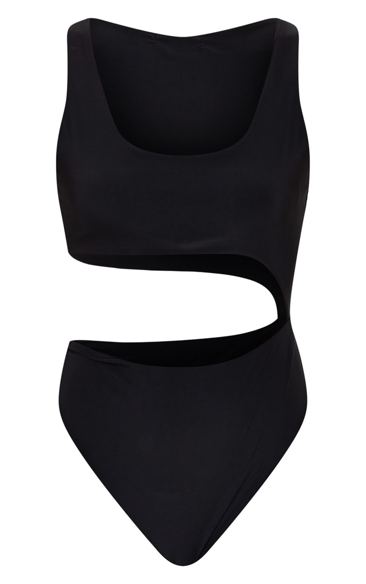 Black Cut Out Slinky Thong Bodysuit 5