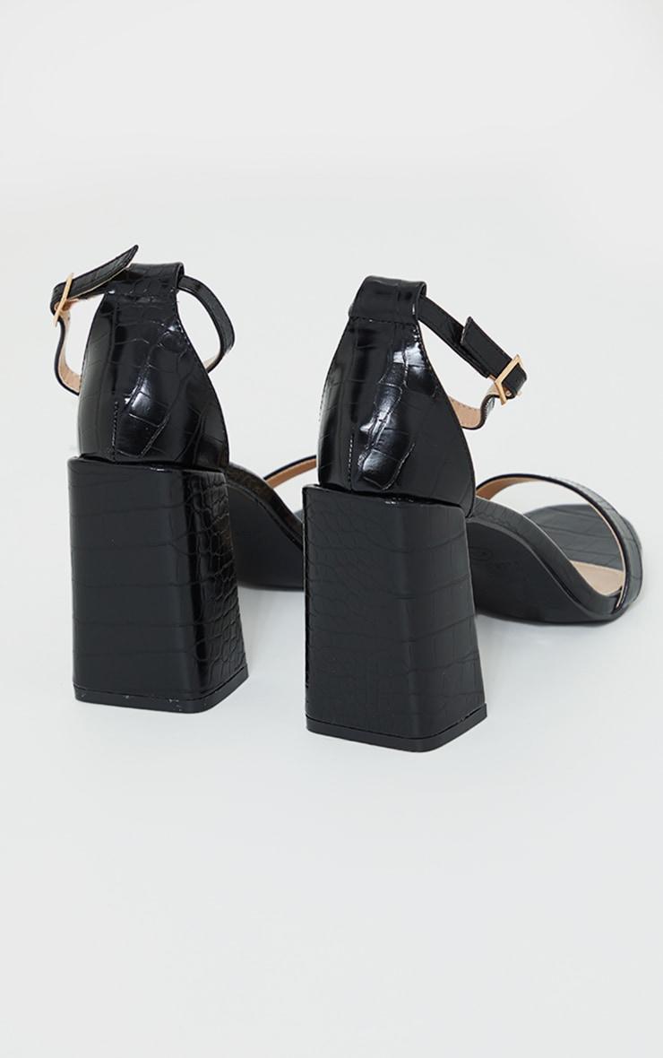 Black Croc PU Block Heel Sandals 4
