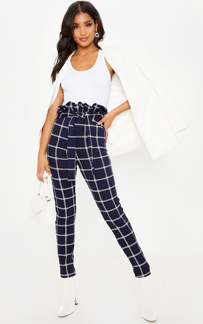 Navy Check Paperbag Skinny Trousers