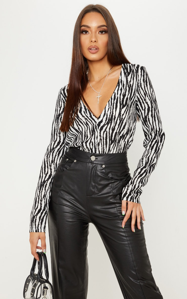 Mono Zebra Print Plunge Satin Bodysuit 1