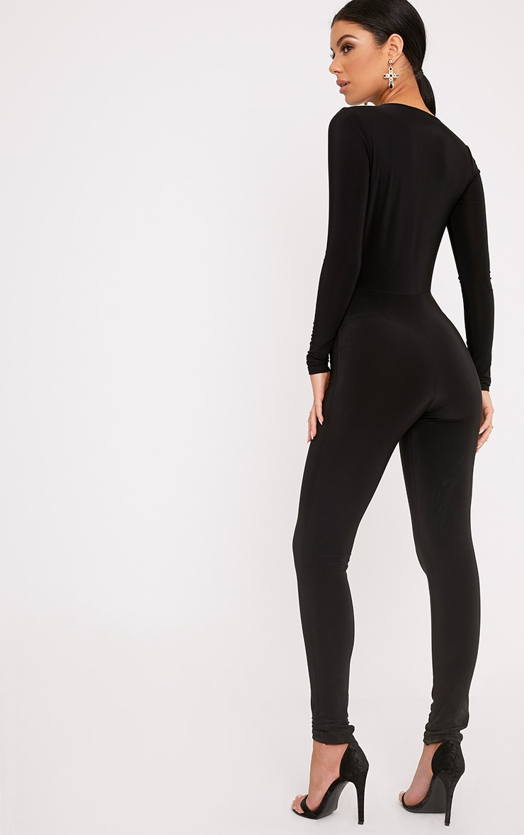 Alessia Black Slinky Knot Front Jumpsuit  2