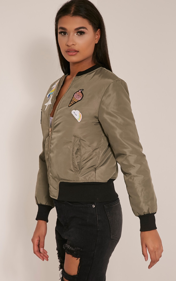 Charleene Khaki Sequin Applique Patch Bomber Jacket 3