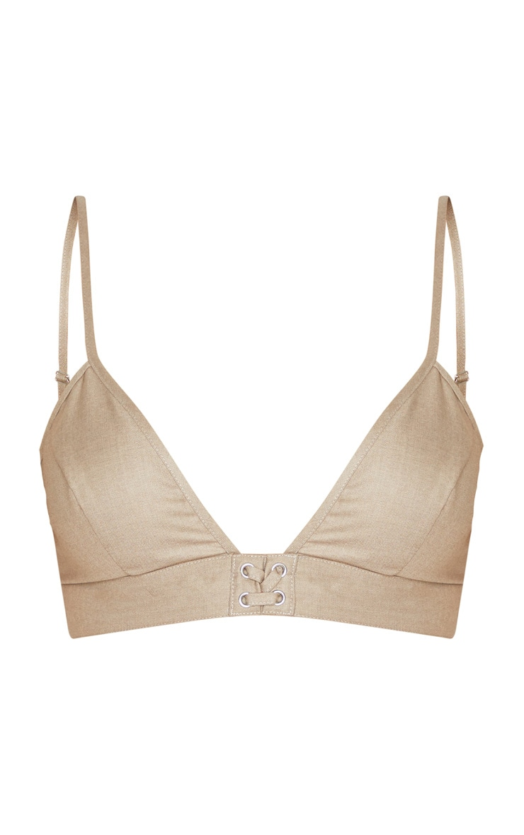 Stone Woven Lace Up Detail Bralet 3