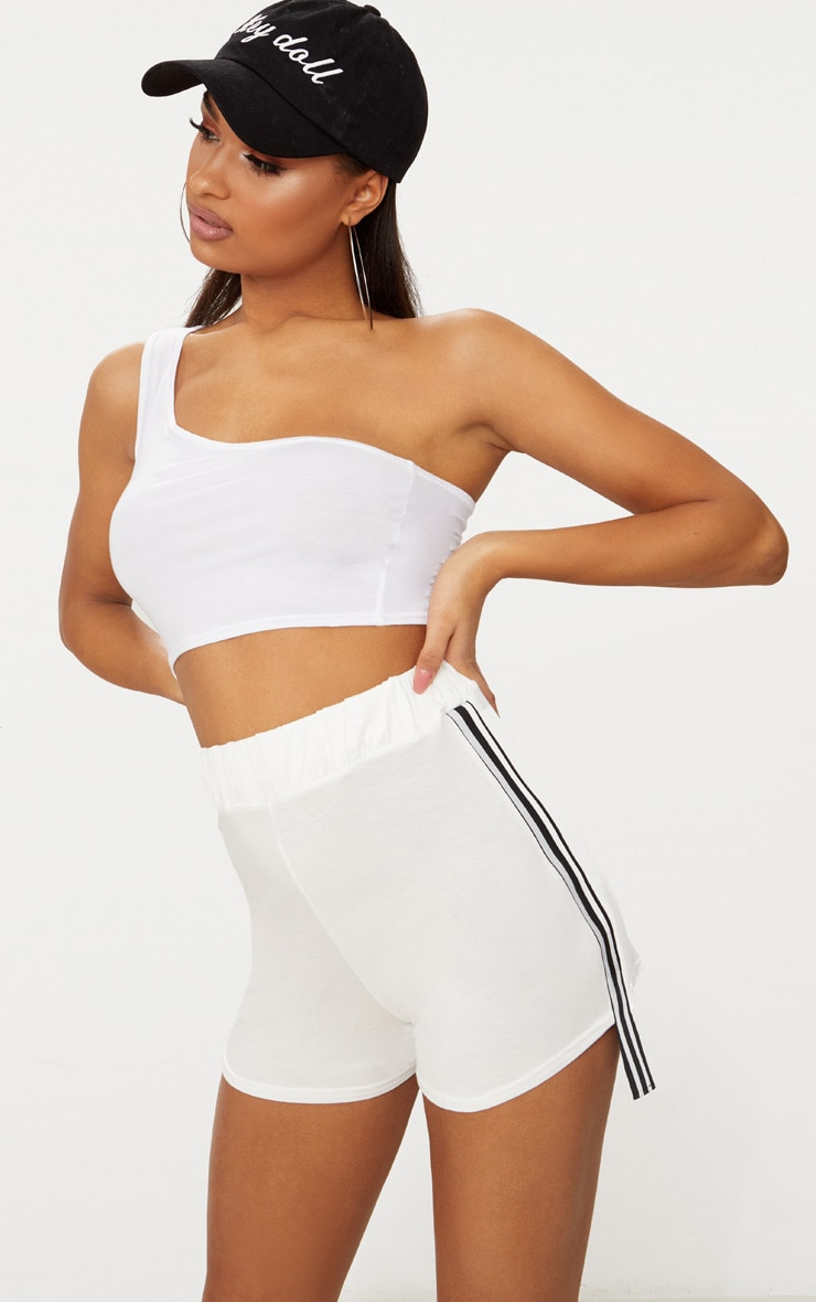 Cream Stripe Tape Trim Jersey Shorts 1