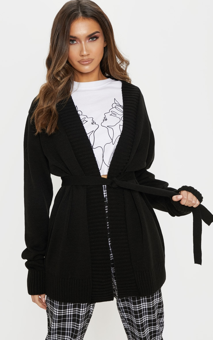 Black  Belted Knitted Cardigan 1