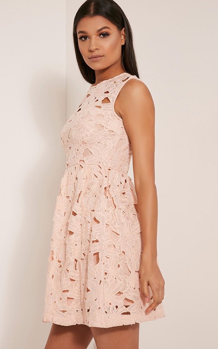 Antonia Nude Crochet Lace Skater Prom Dress 4