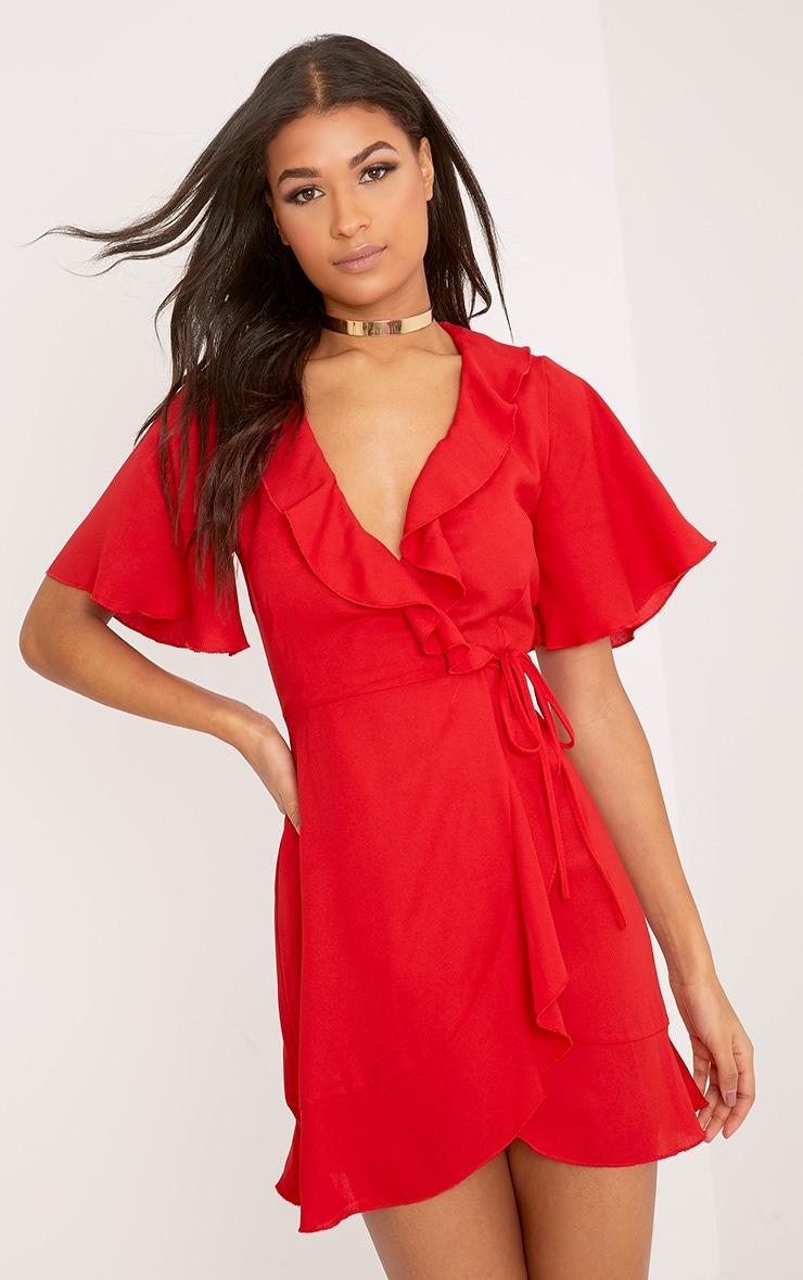 Mollie Red Frill Wrap Mini Dress 1