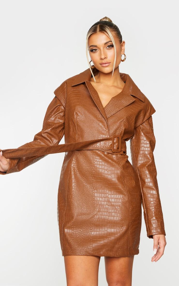 Brown Croc PU Shoulder Pad Buckle Detail Blazer Style Bodycon Dress 3