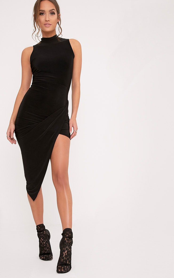 Prim Black Slinky Drape Asymmetric Dress 4