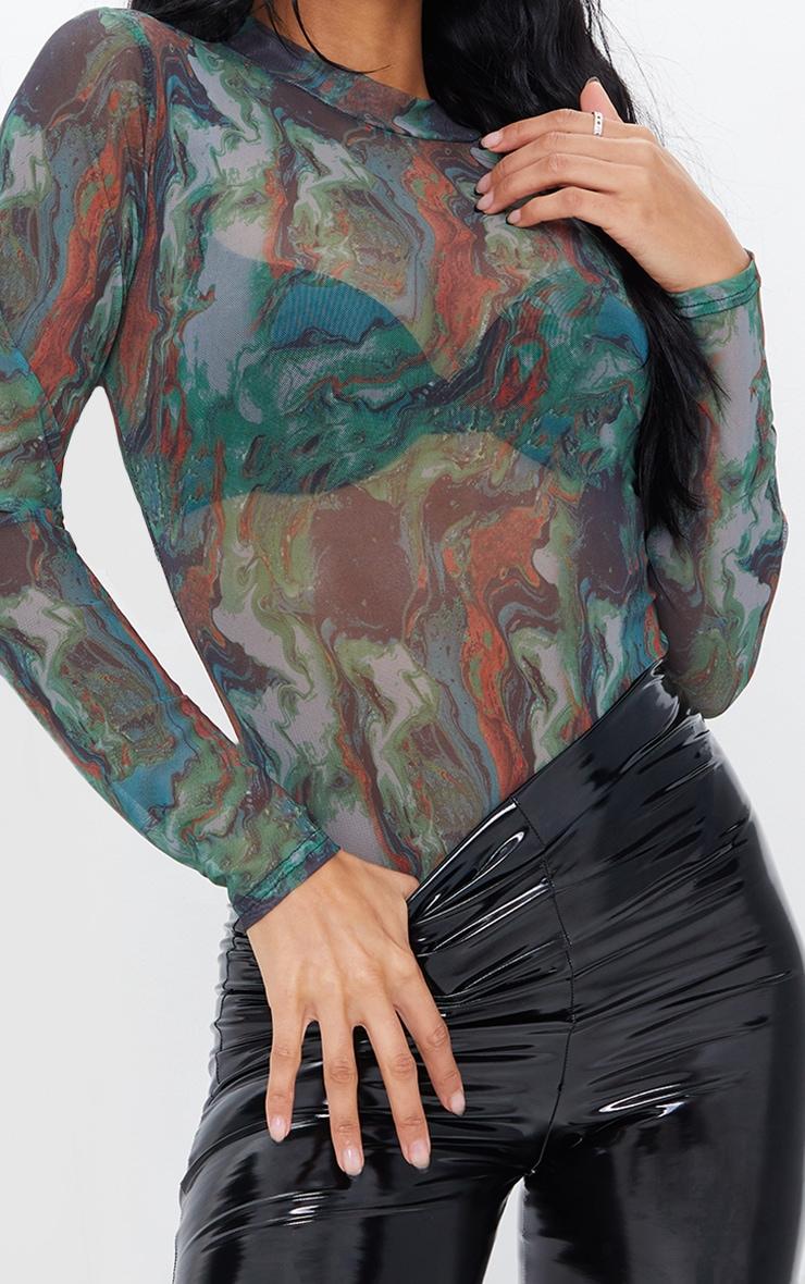 Green Marble Print High Neck Mesh Bodysuit 4