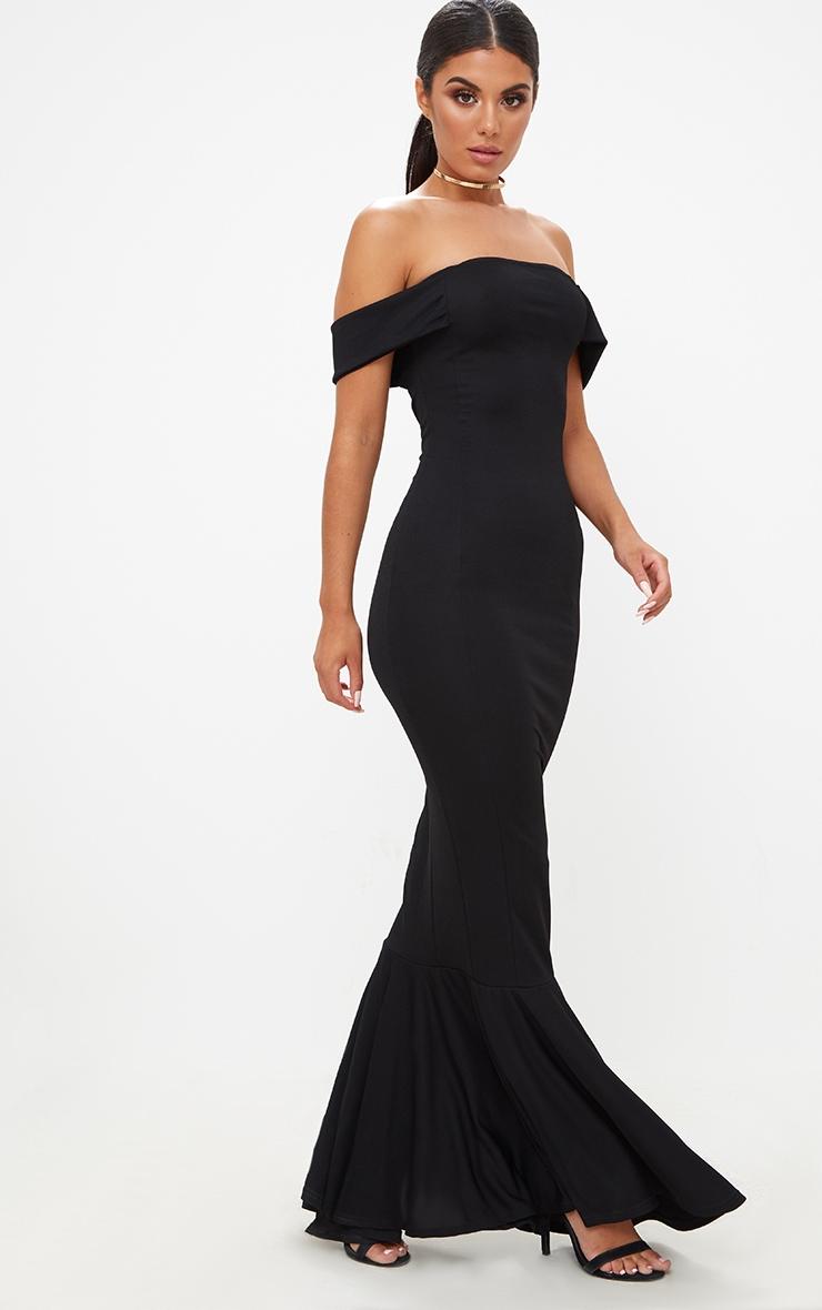 Black Bardot Frill Hem Maxi Dress 1
