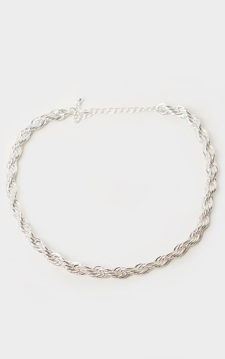 Silver Twisted Rope Necklace 3
