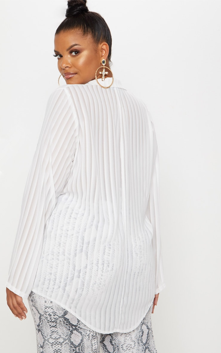 Plus White Striped Chiffon Oversized Shirt 3