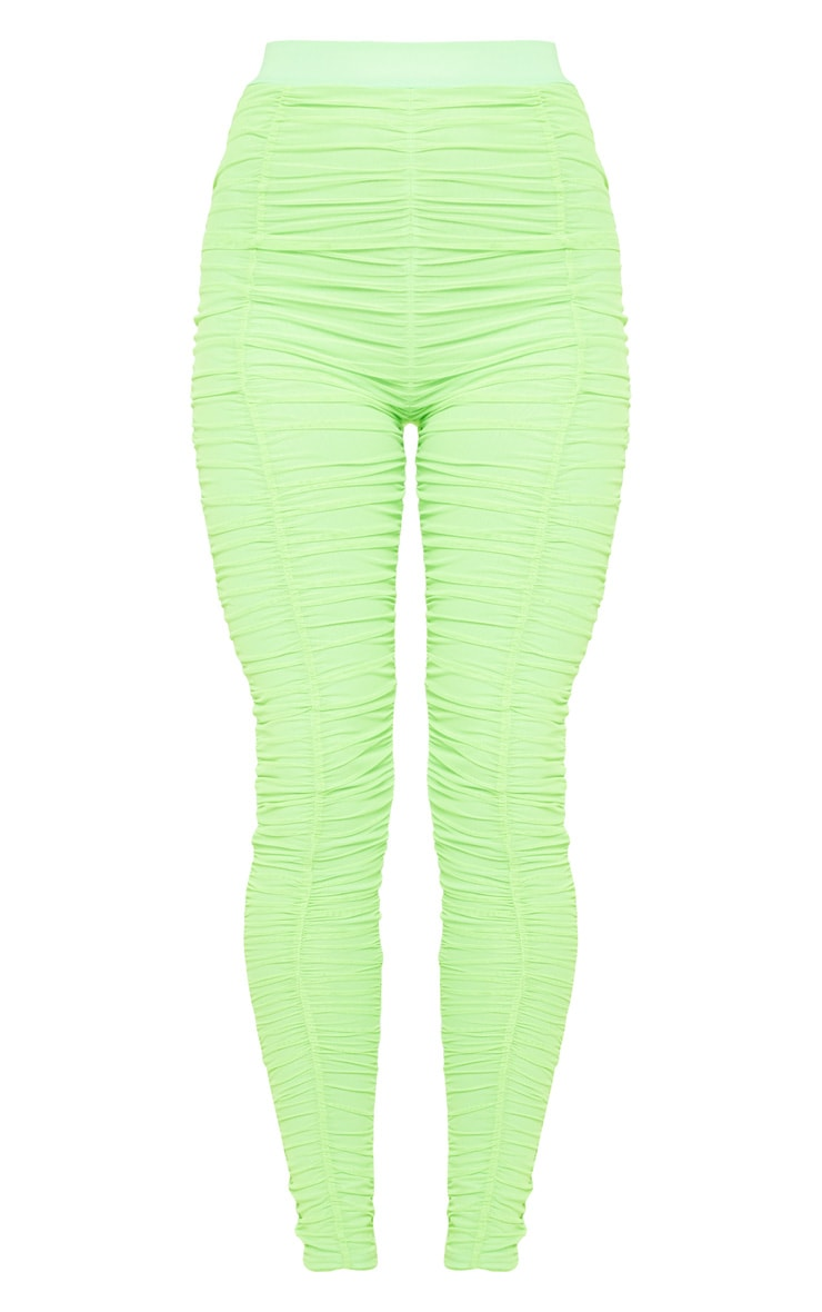 Neon Lime Mesh Ruched Detail Legging 3