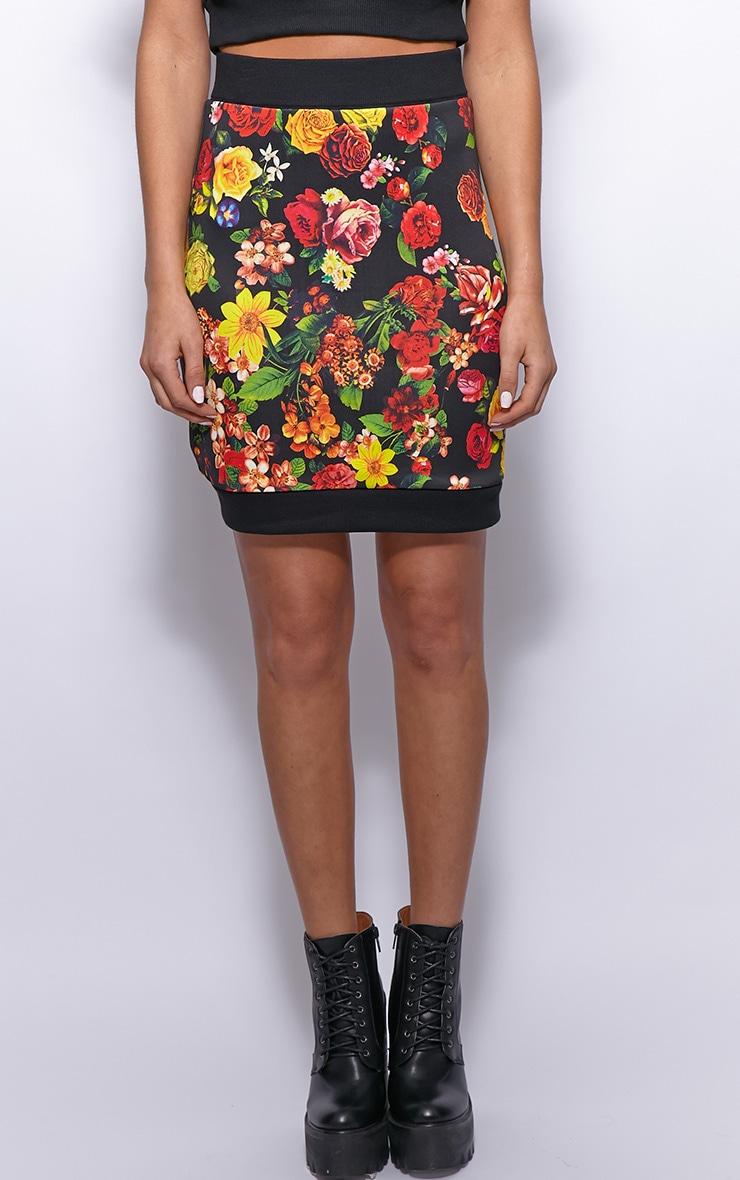 Frankie Black Floral Print Silk Skirt 3