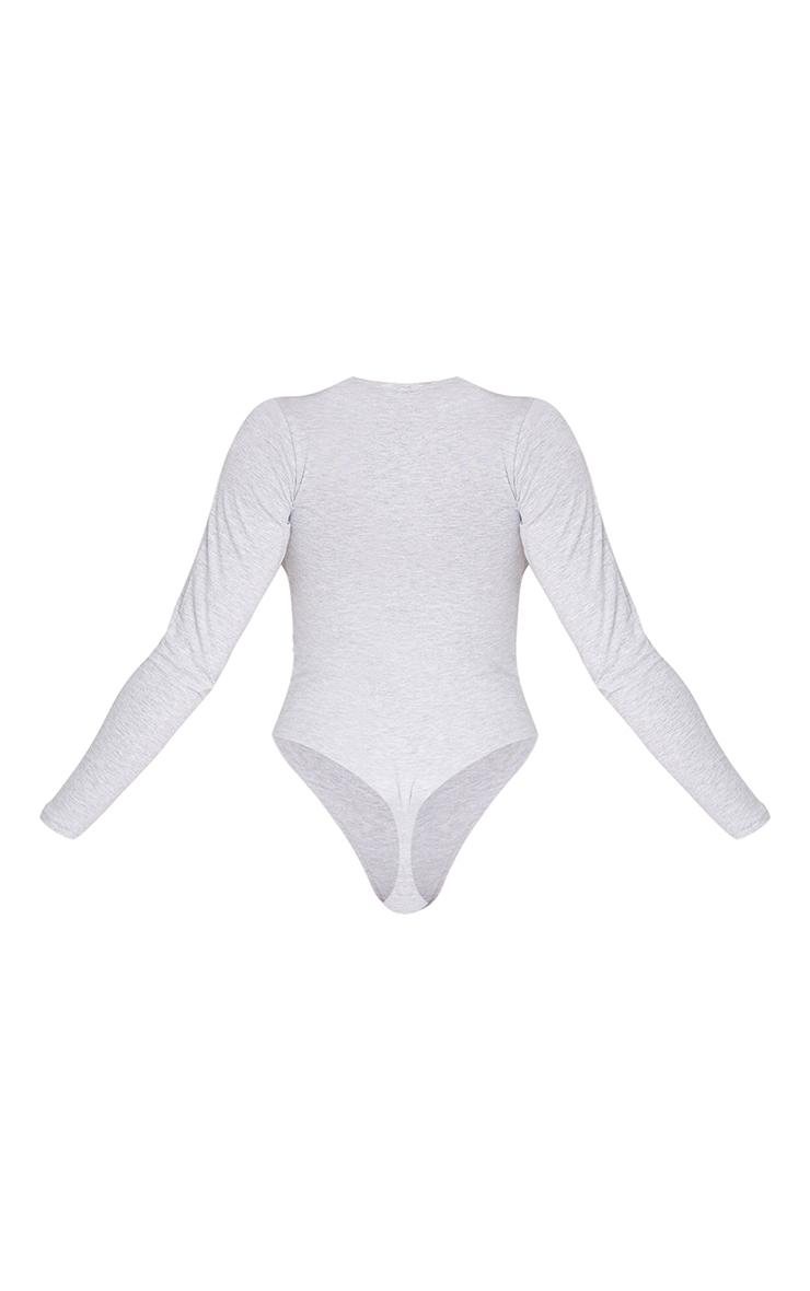 Basic Grey Marl Cotton Blend Crew Neck Bodysuit 6
