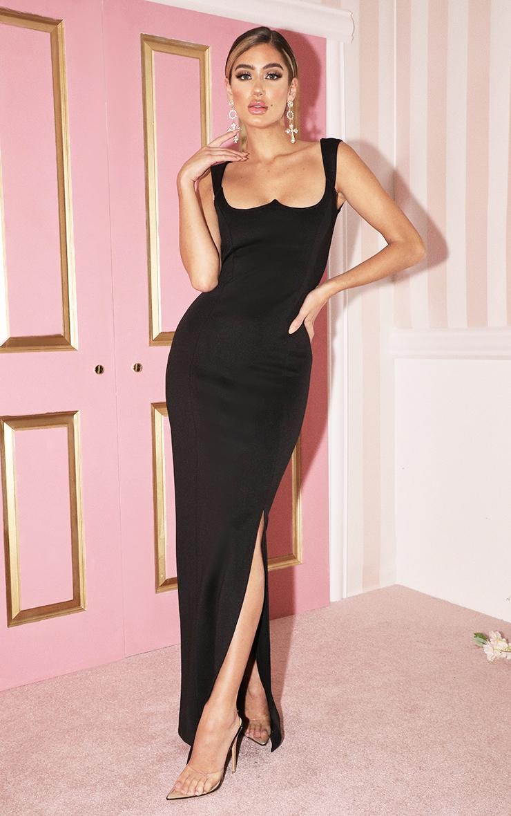 Robe longue noire structurée à corset 1