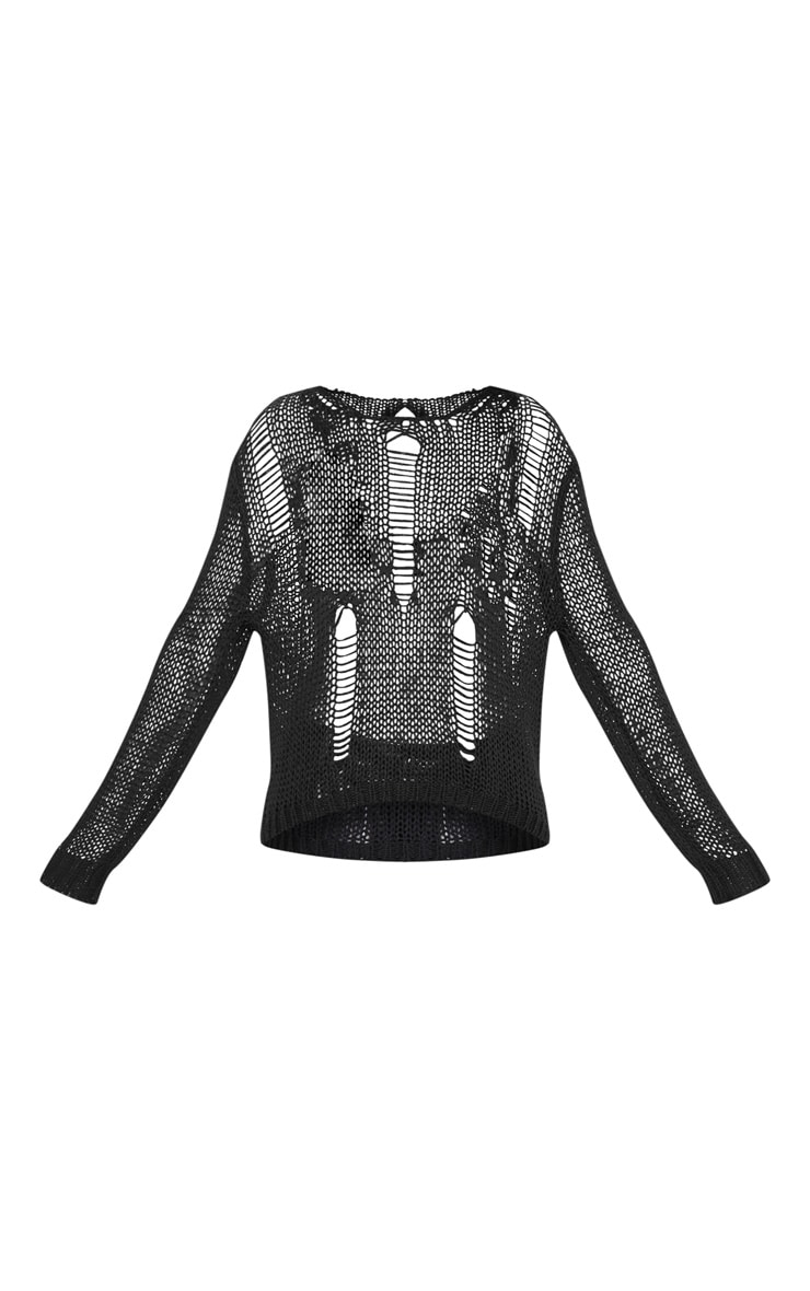 Black Distressed Crochet Long Sleeve Top  3