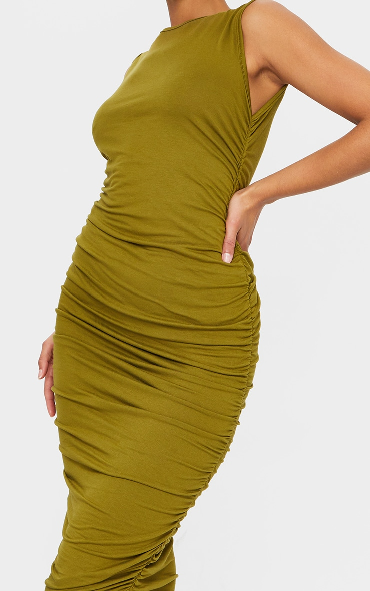 Olive Sleeveless Crew Neck Ruched Side Midi Dress 4