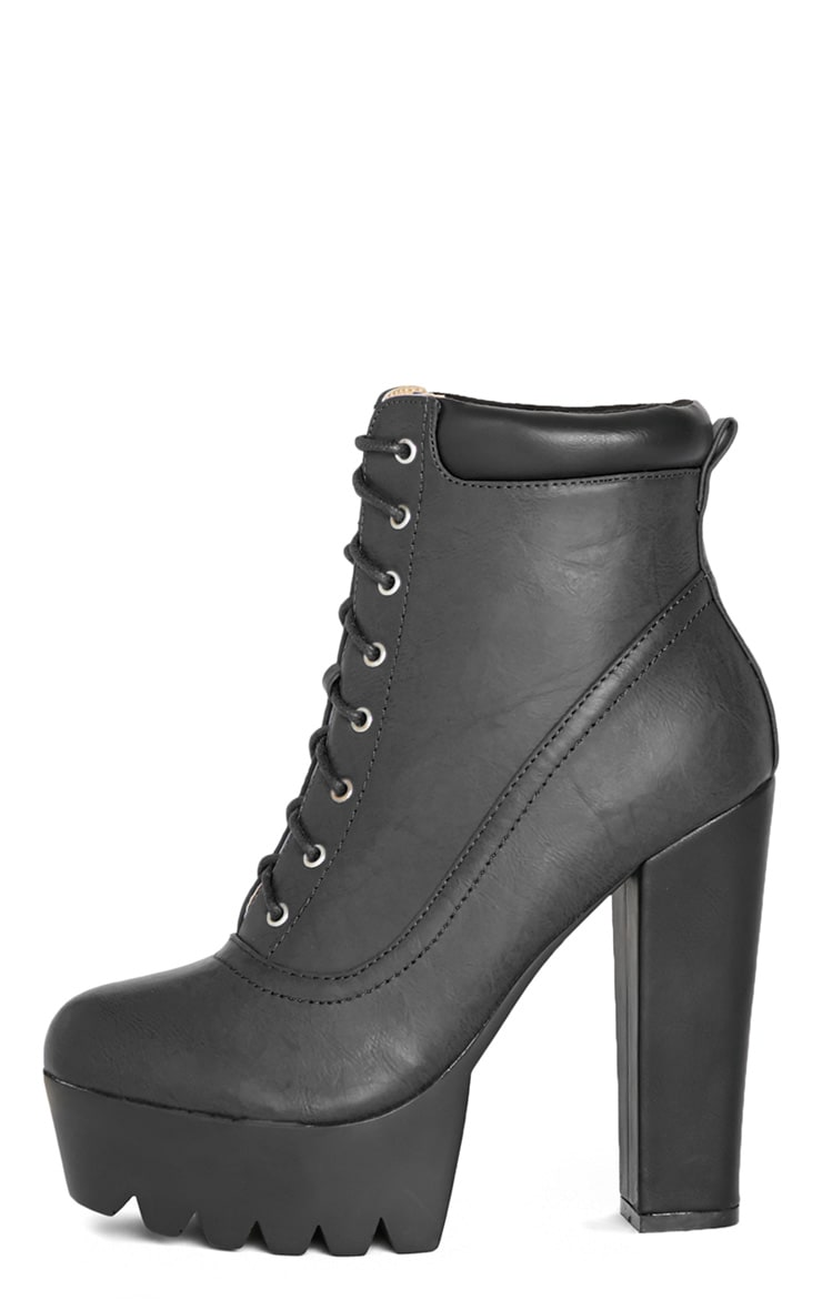 Anusha Black Lace Cleated Sole Platform Boot 1