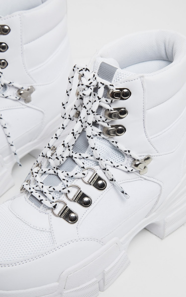 White Lace Up Cleated Sole Hiker Boot 3