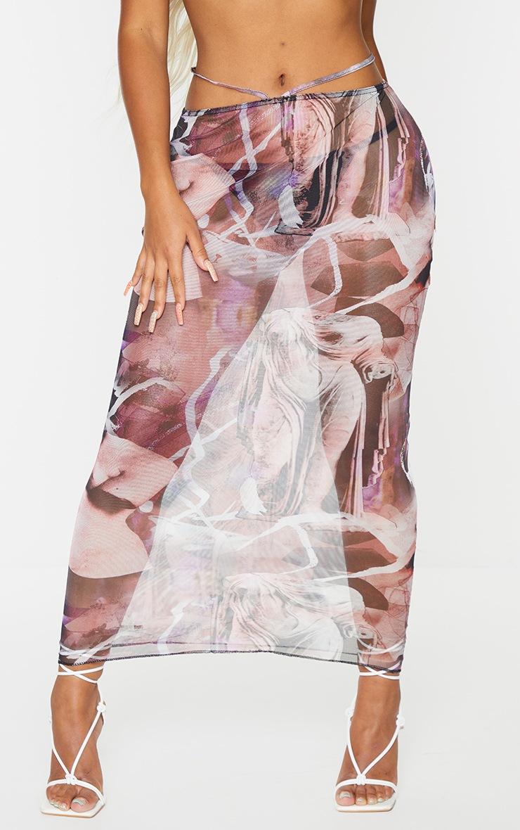 Shape Purple Renaissance Print Sheer Mesh Ring Detail Midaxi Skirt 2